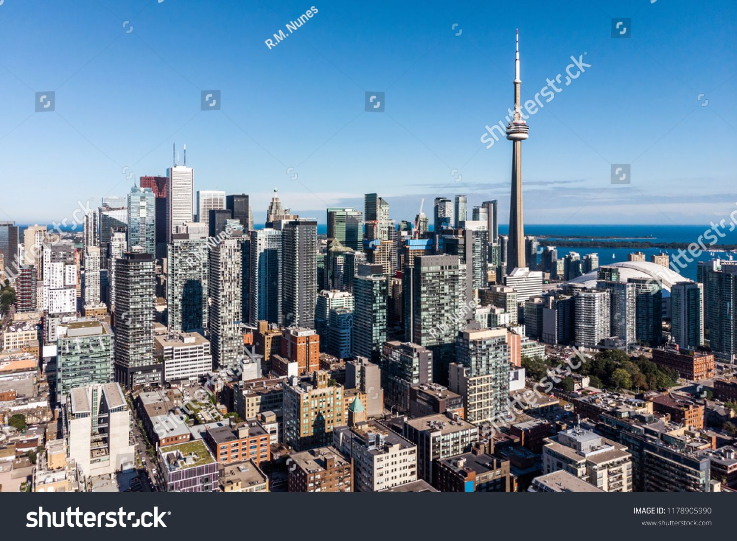 Aerial view of Downtown Toronto including architectural