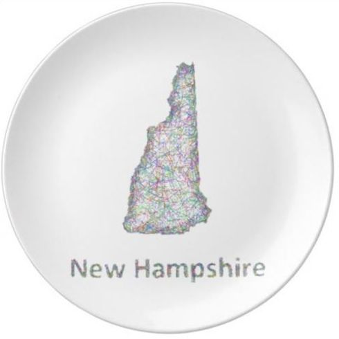 New Hampshire map Porcelain Plate $50.80
