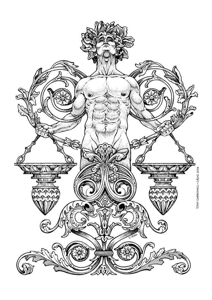 Zodiac Libra, #Dibujos e  #Illustrations de Tony Carbonell #Cadiz