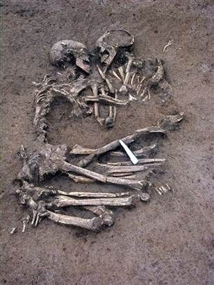 """Now this is love.  5,000 year old skeltons excavated in Mantua Italy. """"The Lovers of Valdaro""""."""