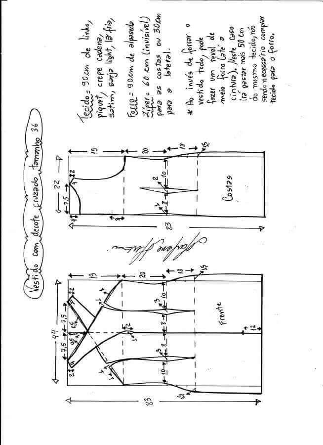 Vestido tubo con escote cruzado | ,corte,patrones y costura ...