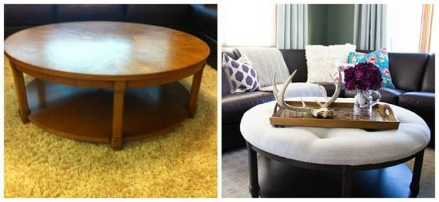 Bon Turning Old Coffee Table Into An Ottoman. I Like This Round/oval Style, As  U Normally See Square/rectangle.