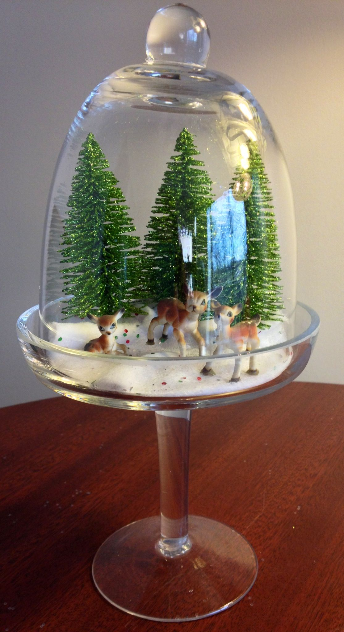 My retro Christmas mini diorama. Glass cupcake dome from TJ Maxx ...