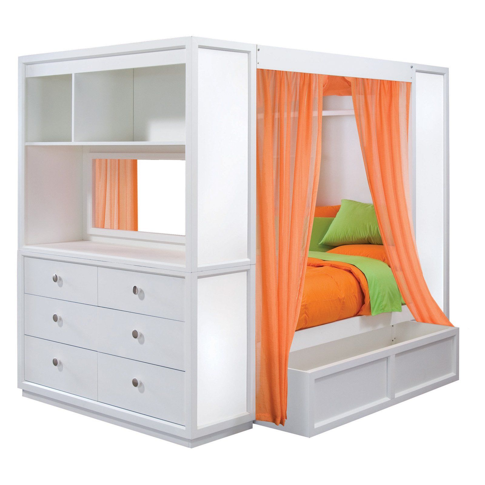 """Great way to have a """"canopy bed"""" with extra storage to"""