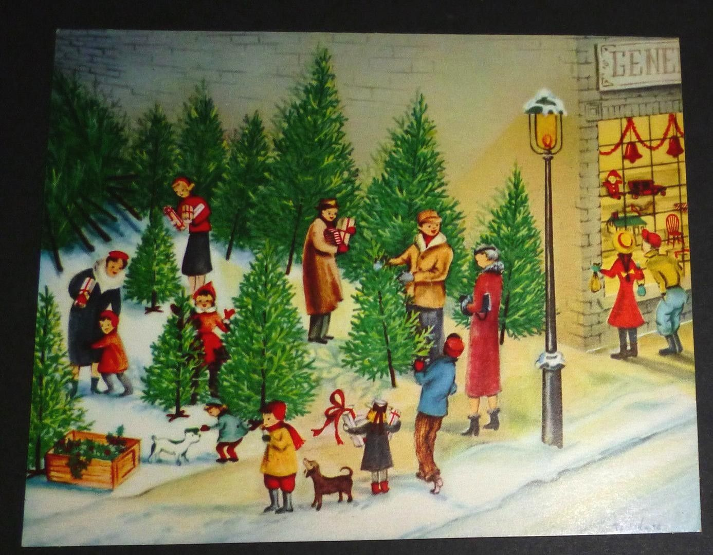 Vintage Christmas Card Family At Xmas Tree Lot Shopping Children Toy Store Mcm 1889444560 Vintage Christmas Cards Christmas Cards Vintage Christmas