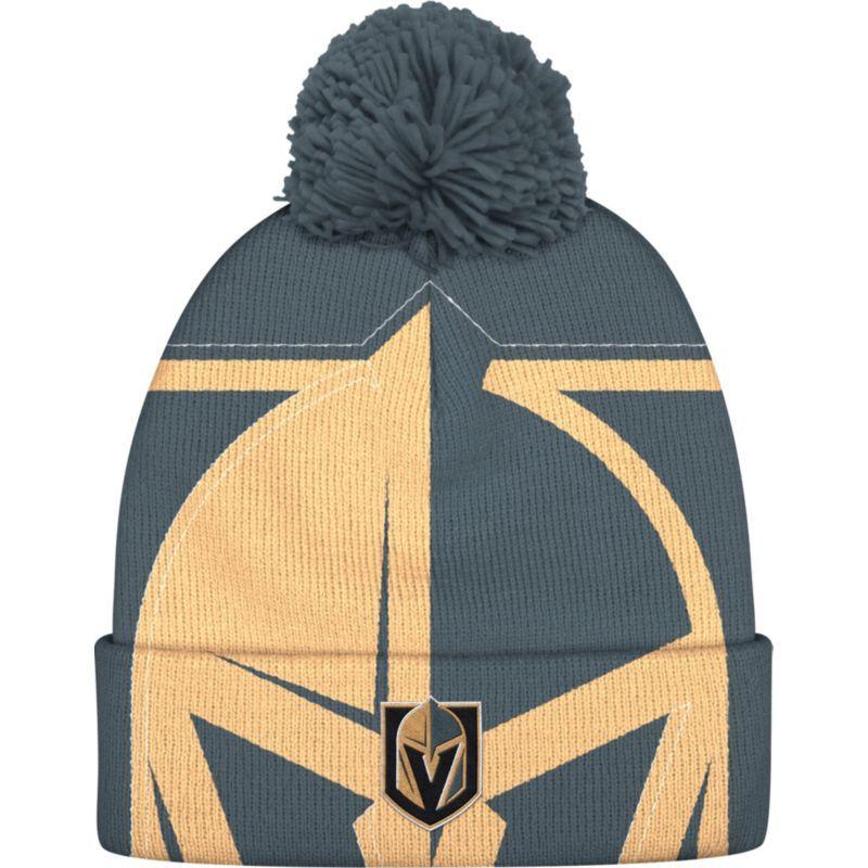 adidas Men s Vegas Golden Knights Logo Grey Pom Knit Beanie a5caca2549f3