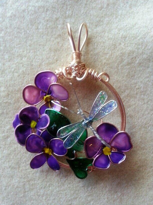 Anhänger Mit Wunschönen Lila Blüten Aus Lack My Latest Wire And