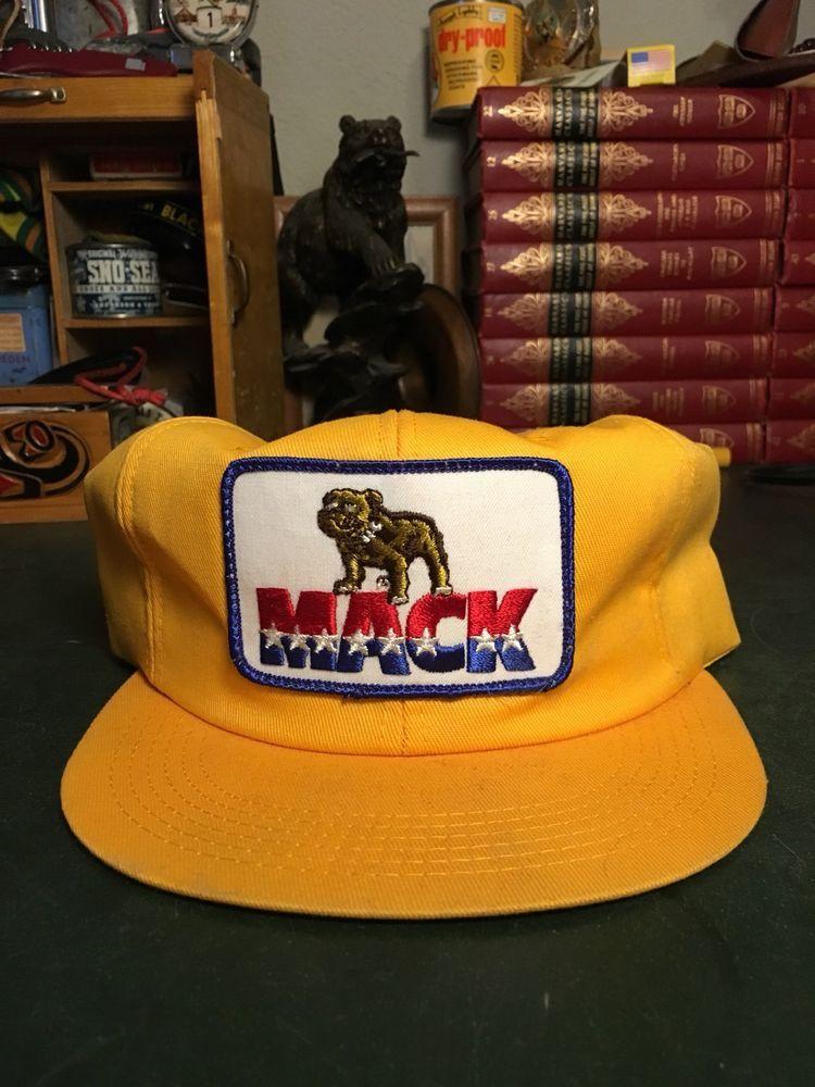 Vintage Yellow Snapback MACK TRUCK Trucker Hat Cap Patch K-PRODUCTS K-BRAND   34b0baf88dd3