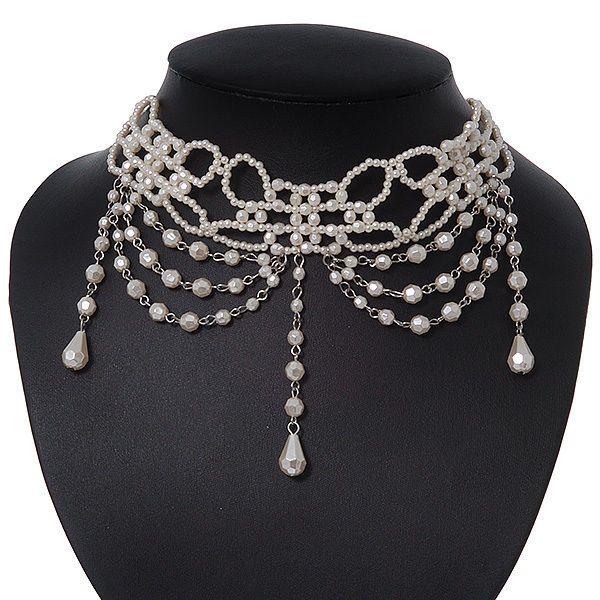 Avalaya Chic Victorian/Gothic/Burlesque Black Bead Choker Necklace Rw2DV8E4
