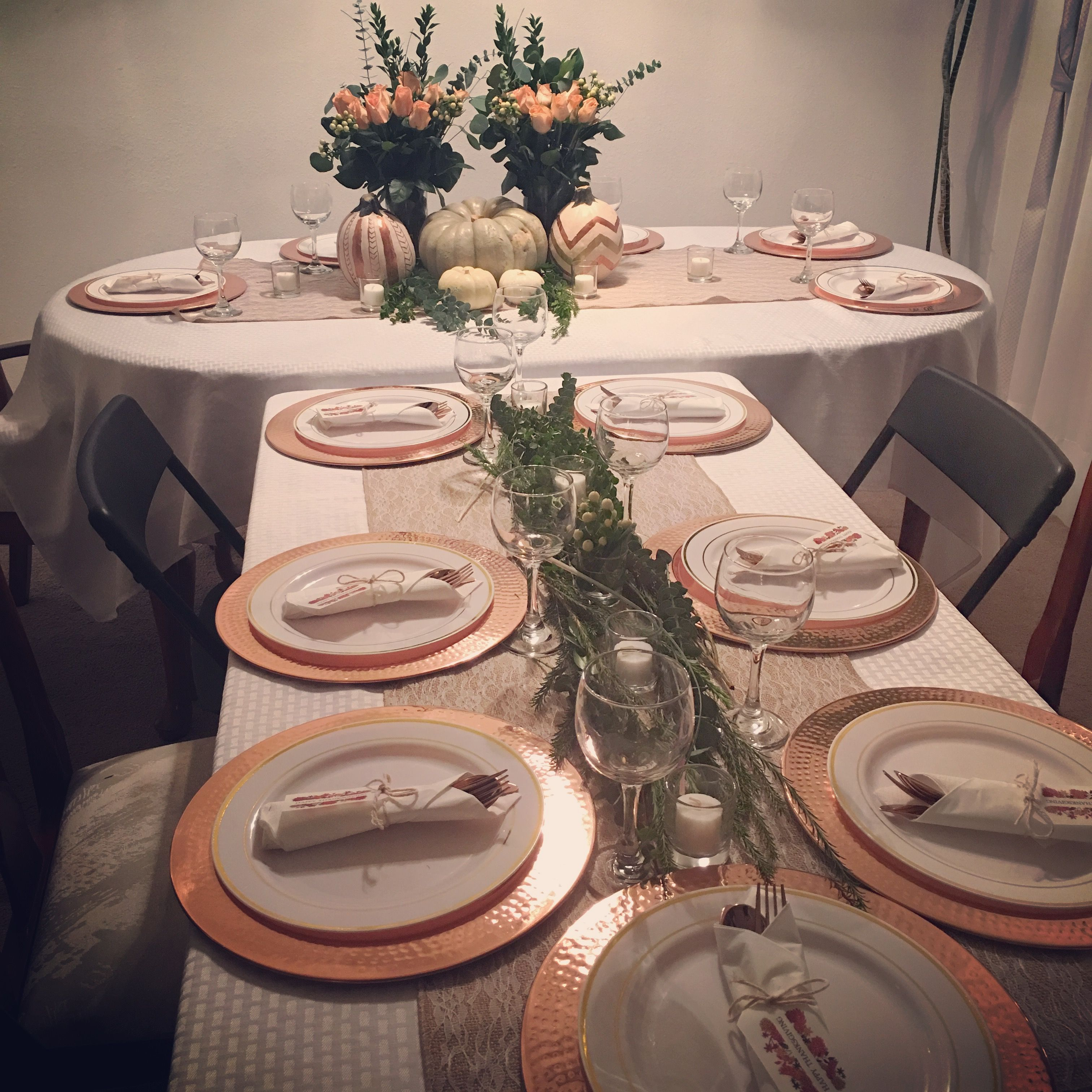 Hammered Copper Charger Plates Simple Thanksgiving Tablescape