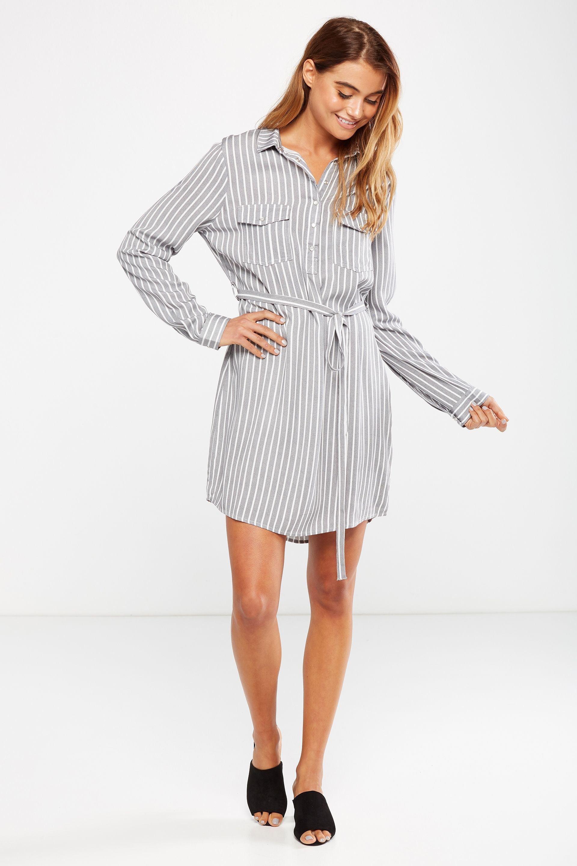 51cf7384a98c Cotton On Women Woven Tammy Long Sleeve Shirt Dress in Harriet Stripe