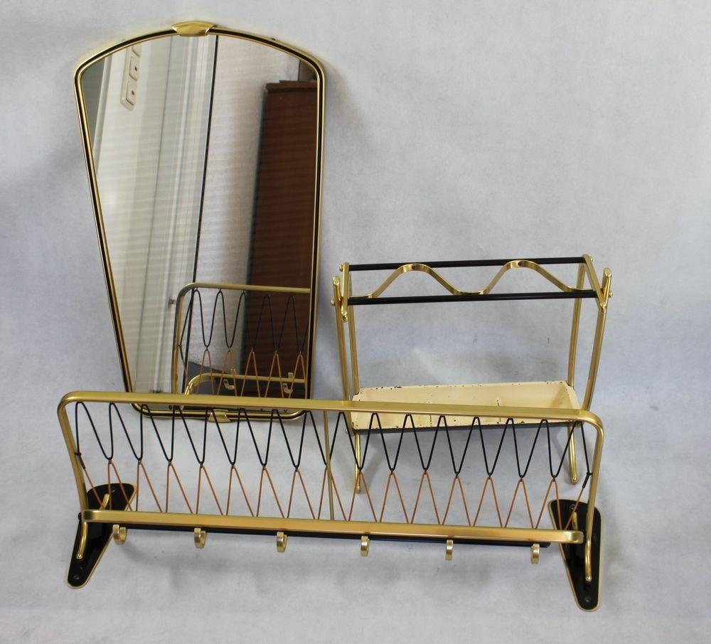 50er Jahre Garderobe Set Mid Century 3tlig Wandgarderobe