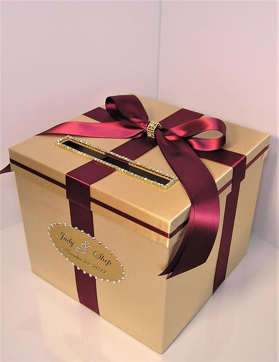 wedding card box gold and burgundy gift card box money box holder