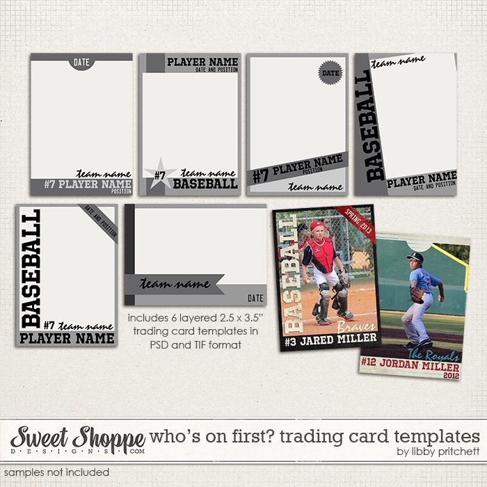 Whou0027s On First - Trading Card Templates by Libby Pritchett Scrap - trading card template
