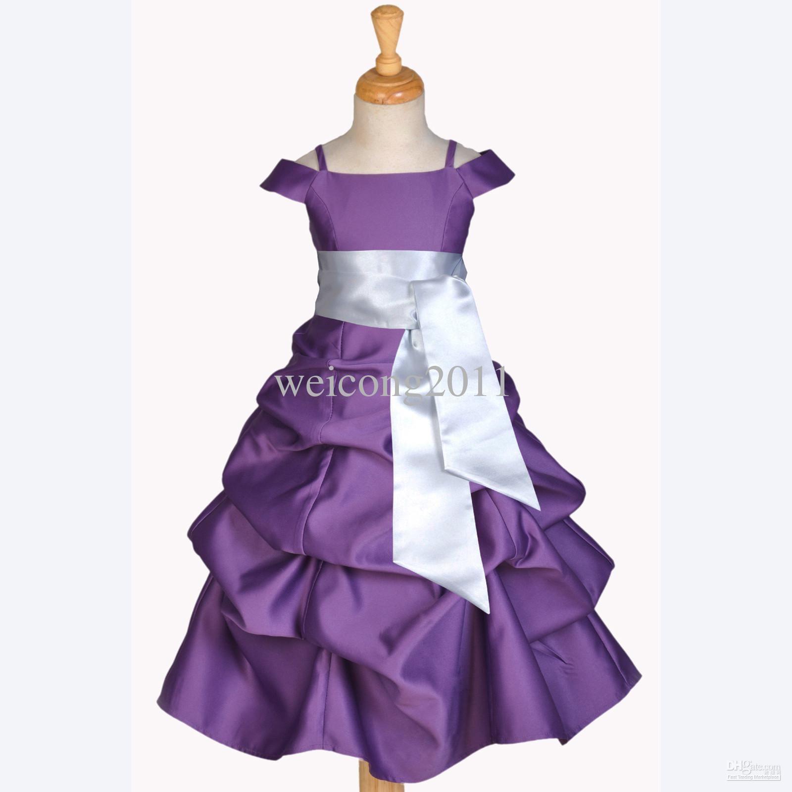Wholesale CHILDREN FLOWER GIRL DRESS PLUM PURPLE SILVER WEDDING ...