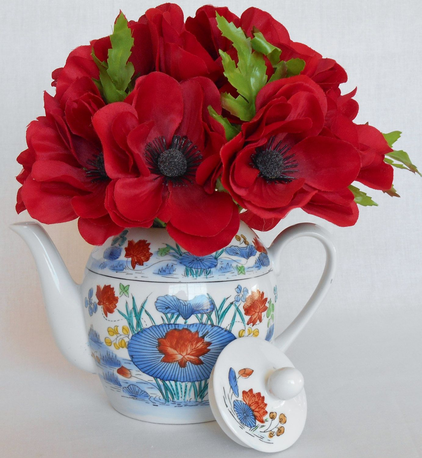 Teapot silk flower arrangement bright red poppies floral oriental teapot silk flower arrangement bright red poppies floral oriental teapot artificial flower arrangement mightylinksfo