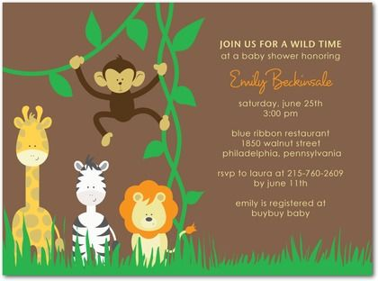 Giraffe zebra monkey lion safari baby shower invitations in giraffe zebra monkey lion safari baby shower invitations in brown filmwisefo Image collections