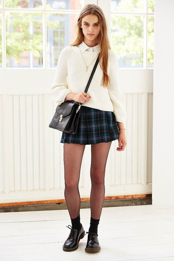 Ecote Plaid Inverted Pleat Mini Skirt | Pleated mini skirt and ...