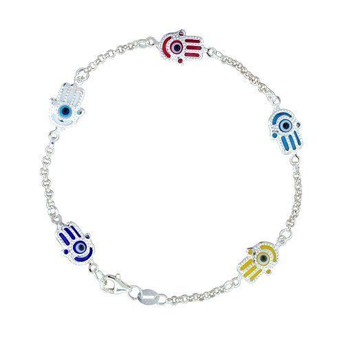 Bling Jewelry Turkish Evil Eye Jewelry Sterling Silver Evil Eye Hamsa Bracelet