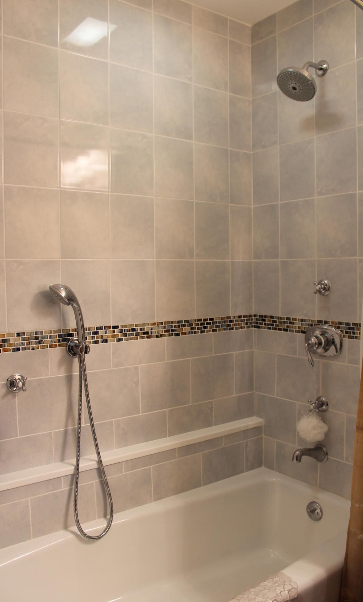 Read More Tile Shower with Glass Border Tile Bathroom with