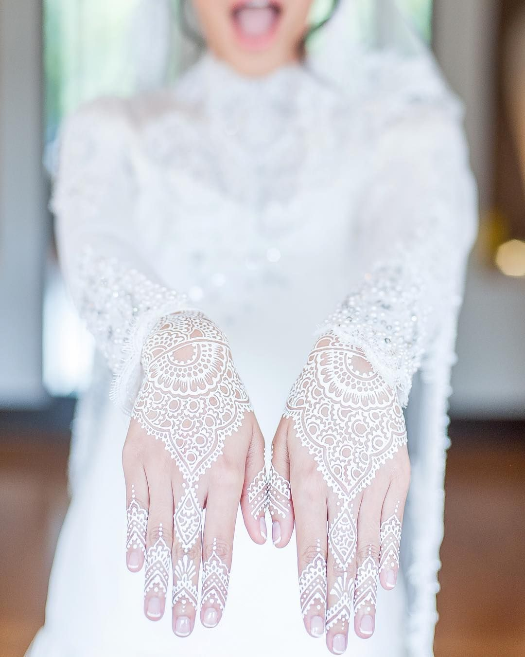 White Henna Lace Pattern He Proposed She Said Yes Bridal