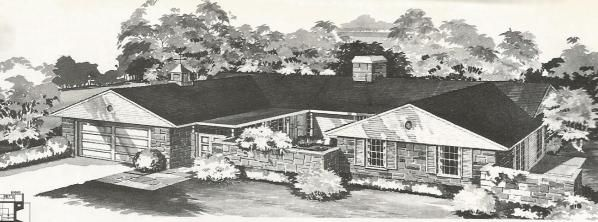 Vintage House Plans, mid century homes, U shaped houses ...