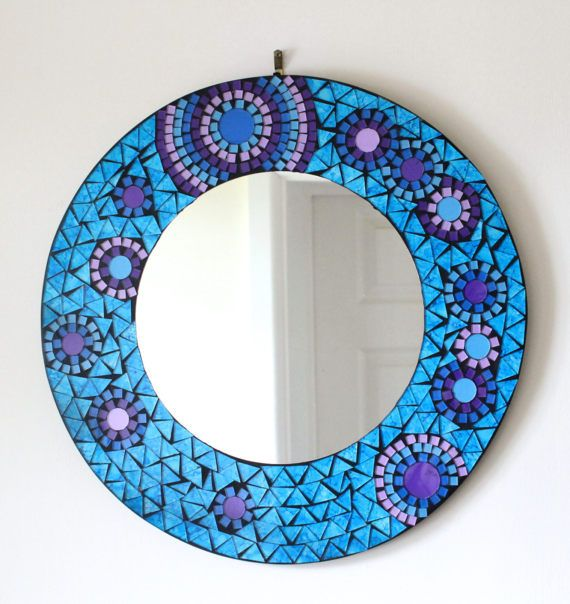 round mosaic mirror blue glass design bathroom hall mirror 40cm mosaik spiegel und b der. Black Bedroom Furniture Sets. Home Design Ideas