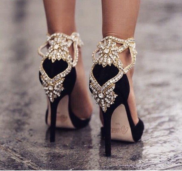 shoes black heels gold sequins embellished classy blogger sparkle ...