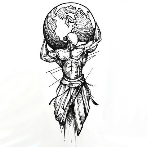 Sketchy Man Holding Earth Tattoo Design #tattoodrawings
