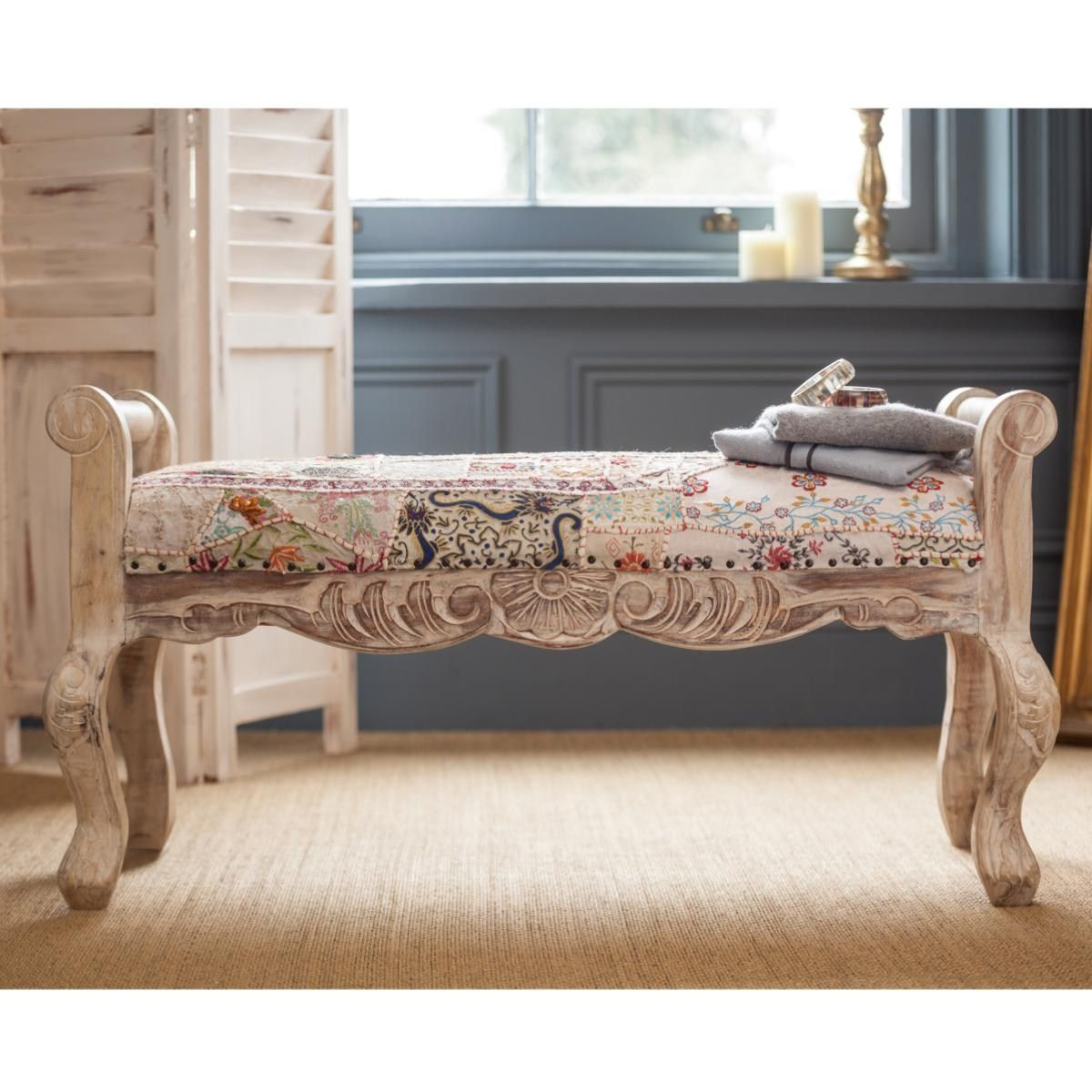 Not sure about the fabric, but wood si stunnign!!   Plantation Moti Ari Upholstered Bench
