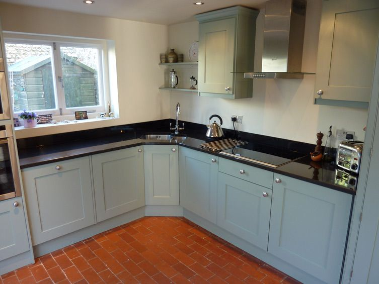 corner sink in small kitchen wall oven and micro to left of window induction - Hand Painted Kitchen Cabinets