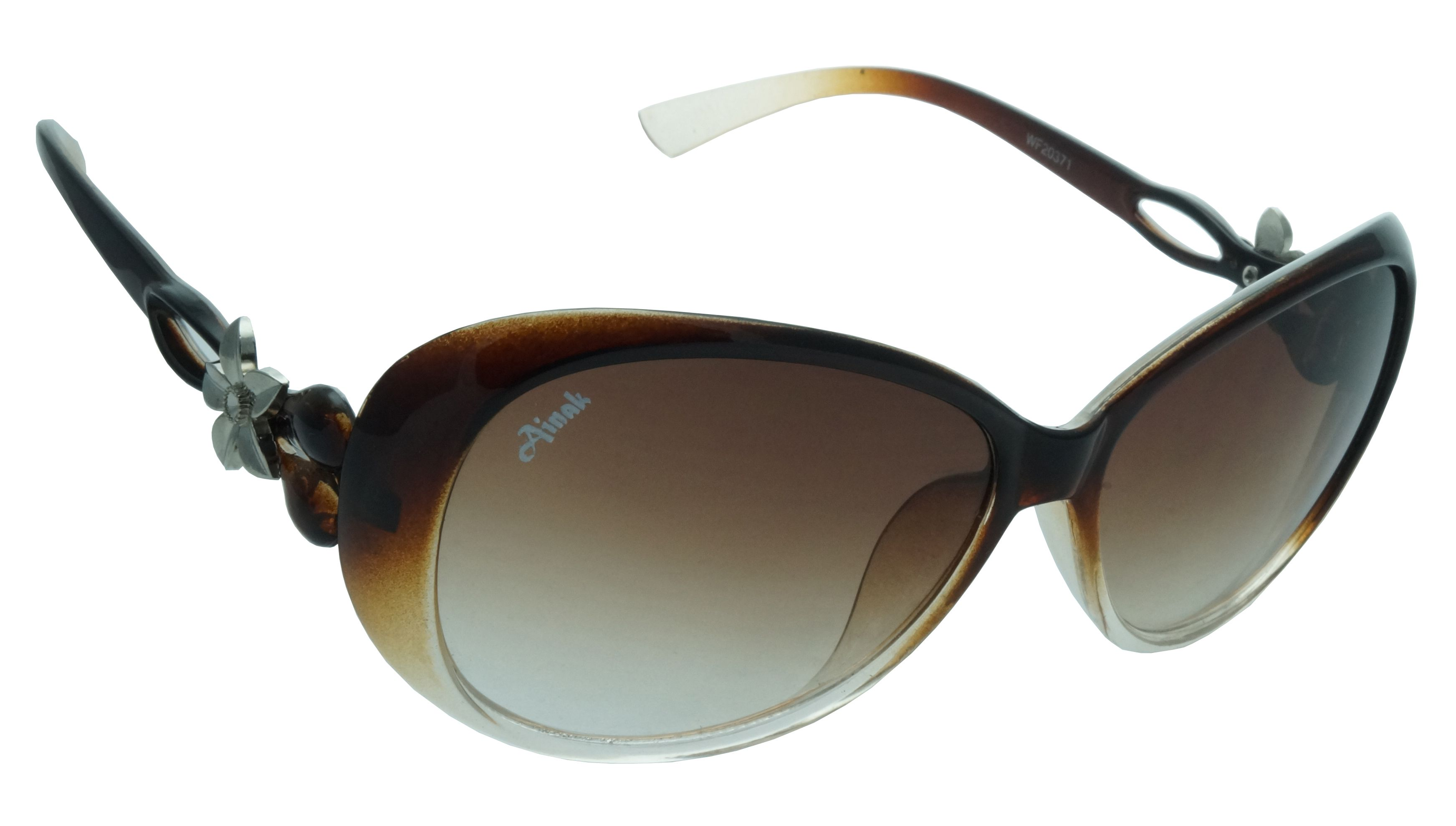 Just frames for glasses - Ainak Zoya Collection In Double Shade Brown Frame With Gradient Brown Glasses For Just