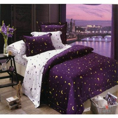 Funky Beding Moons And Stars Bedding Sets Purple White Moon And Star Queen Size Cotton Bedding Purple Bedrooms Purple Rooms Purple Home