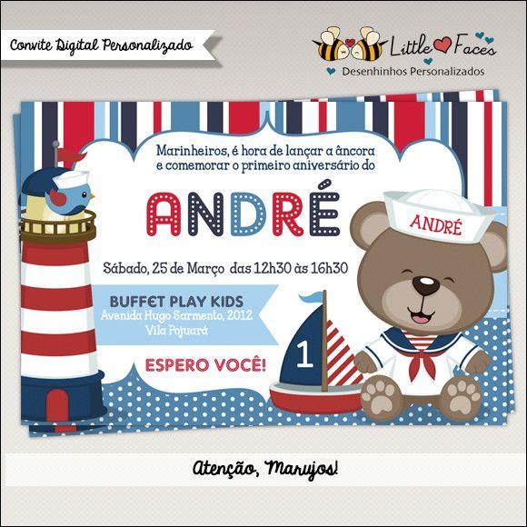 Convite Festa Urso Marinheiro Digital | LittleFaces | Elo7