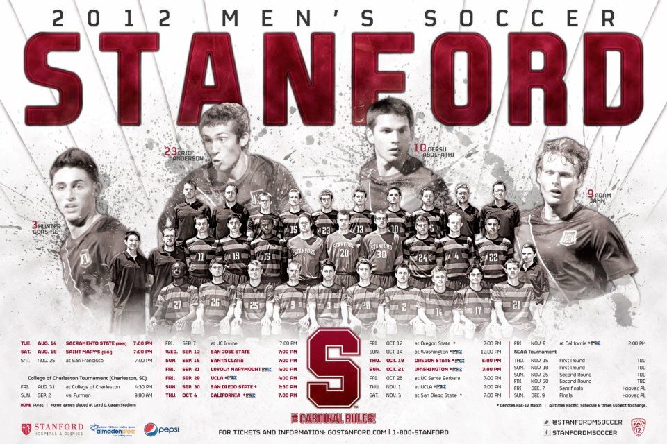 Stanford 2012 Men S Soccer Schedule Poster Designed By Aaron Villalobos I Old Hat Creative Soccer Poster Soccer Schedule Sports Marketing
