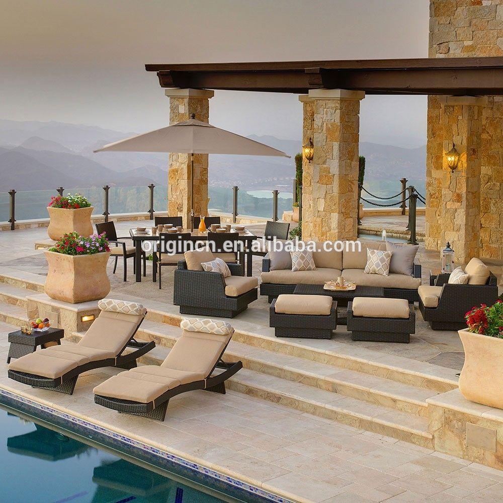 Villa piscina party muebles de ratán sofá con juego de comedor y ...