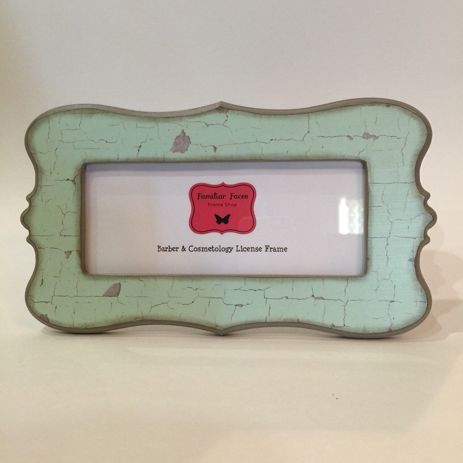 Barber /& Cosmetology license frame in black and off white distressed damask fits 8 12x 3 58 business certification