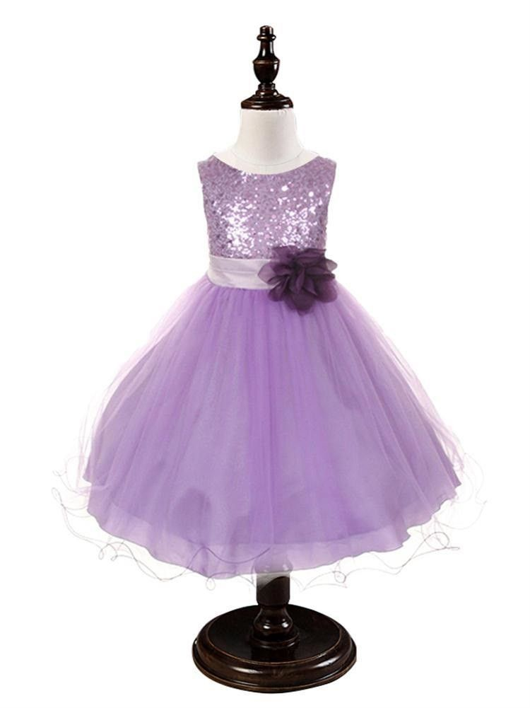 Purple Sequined Bodice Dress w/mesh overlay | Vestidos de niñas ...