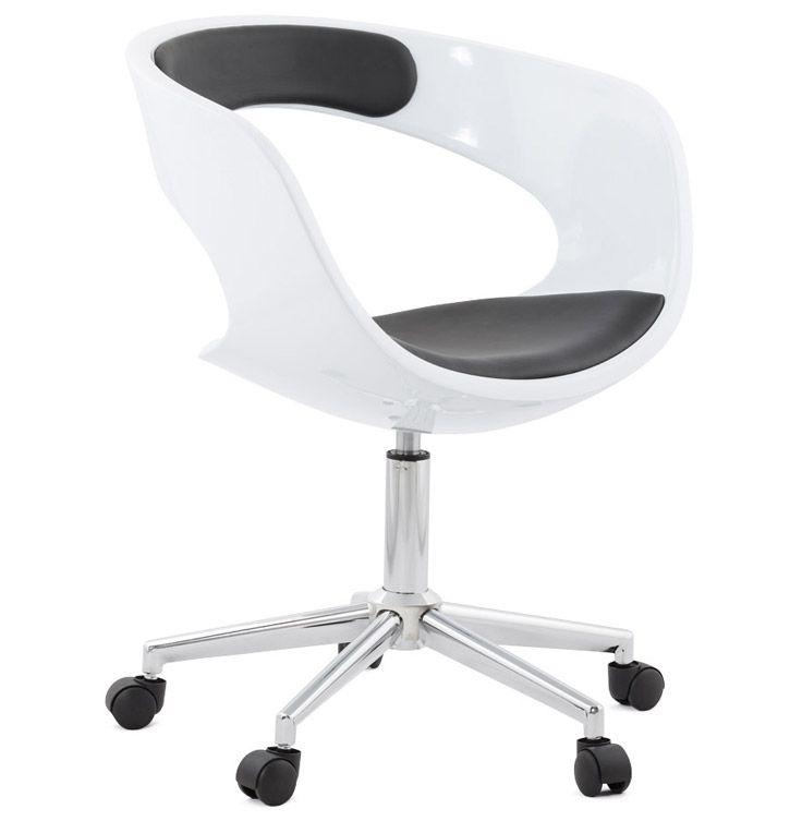 Chaise De Bureau Strato Blanche Et Noire Sur Roulettes Kantoorstoel Stoelen Bureaustoel