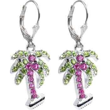.925 Sterling Silver Pink Preciosa Crystal Palm Tree Earrings | Body Candy Body Jewelry