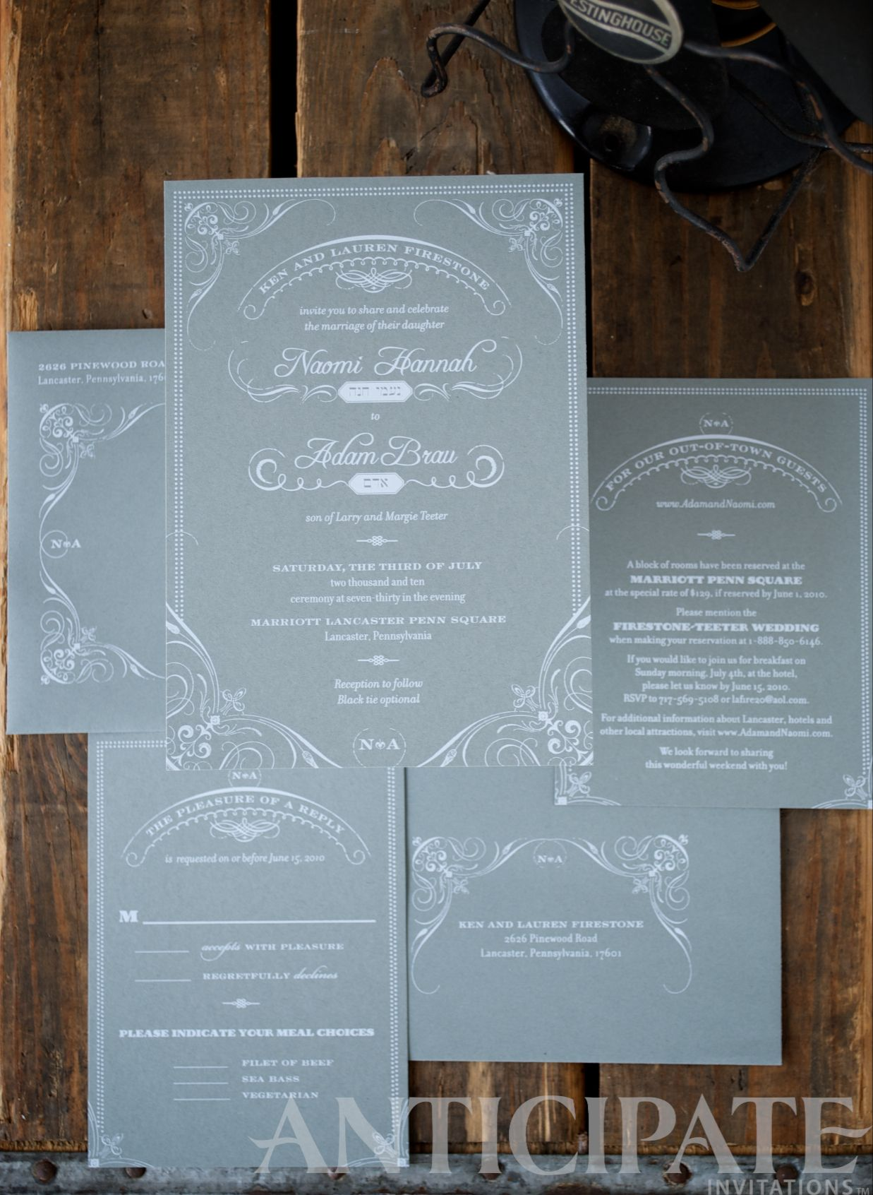 Screen Printed On Steel Blue Paper Anticipate Invitations