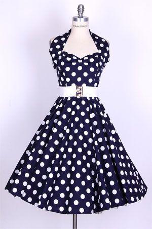 40s Polka BigWhite Dotsblack Halterneck Dress 40 Fashion Find Delectable 50s Style Dress Patterns