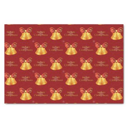 Bright Metallic Gold Bells Merry Christmas Tissue Paper Red Gifts