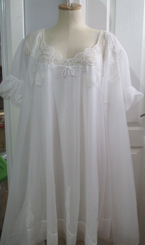 cbd39b401 Vintage Kayser Multi Layer Chiffon Nylon Nightgown Peignoir Set ...