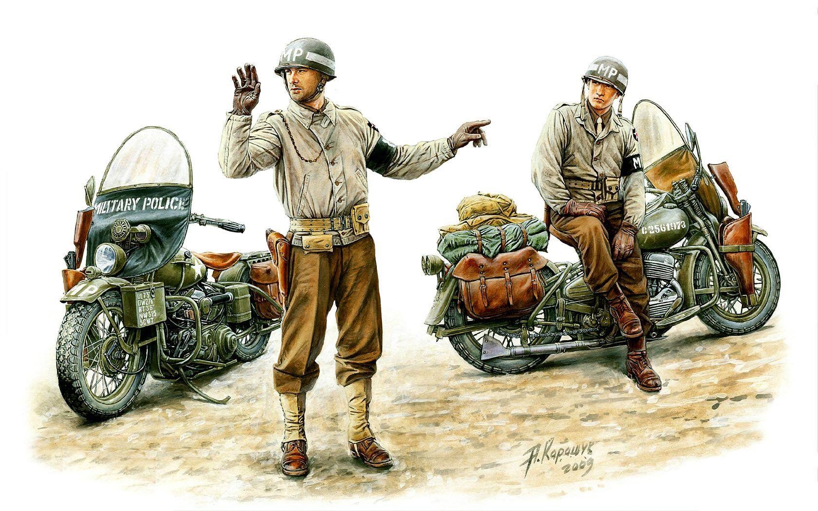 U.S ARMY - MP (polizia militare) della 2a Infabntry Division su  Harley-Davidson WLA 42