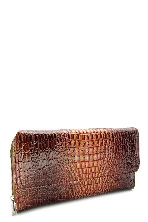 Brown Textured Zipper Wallet   #DiscountedPalace #ZipAround