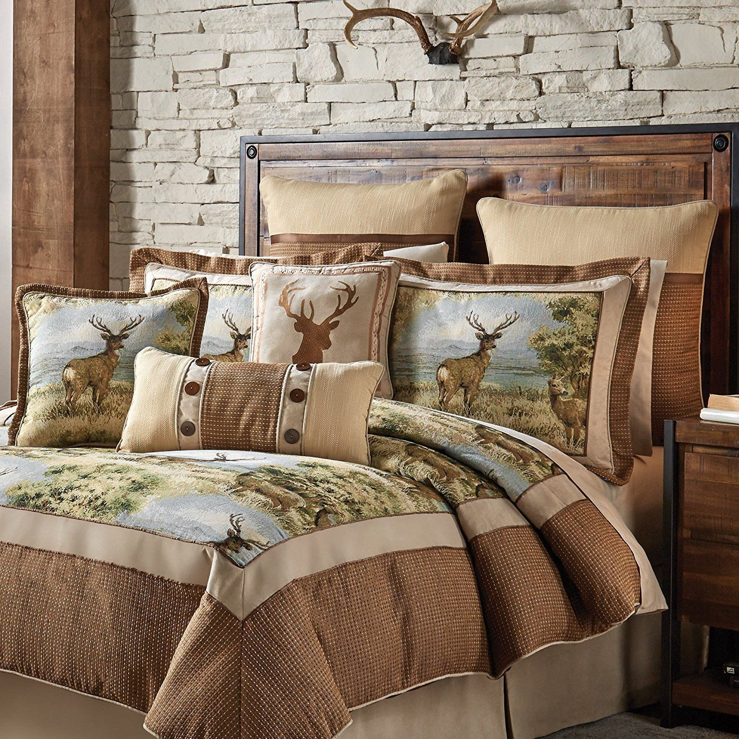 Brown Deer Cabin Themed Comforter Queen Set Hunting Lodge