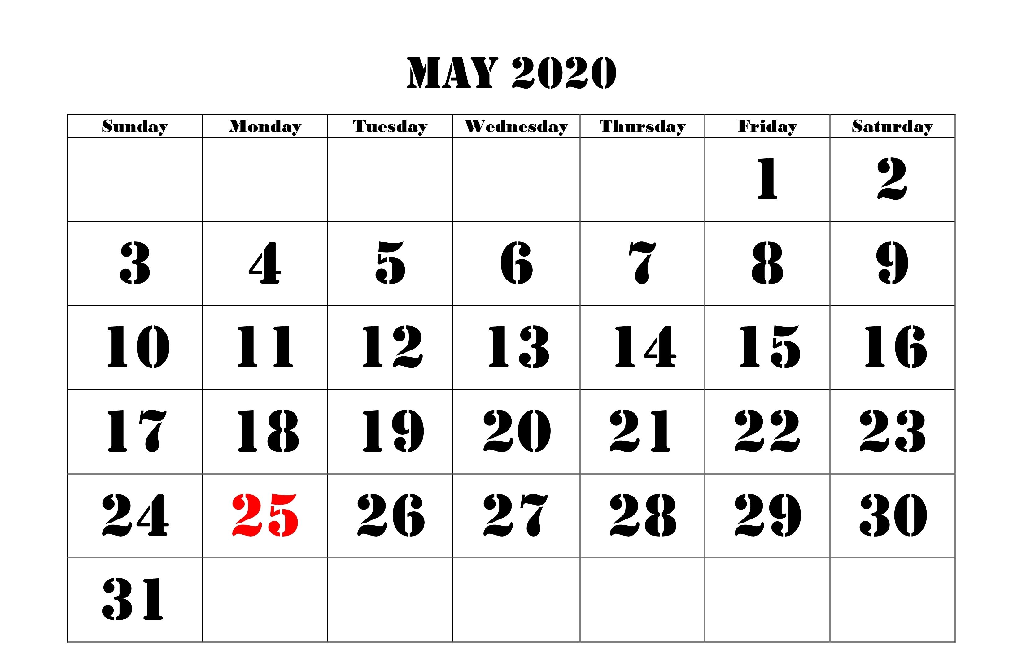 Get Editable May 2020 Calendar Template Blank Word Landscape A4