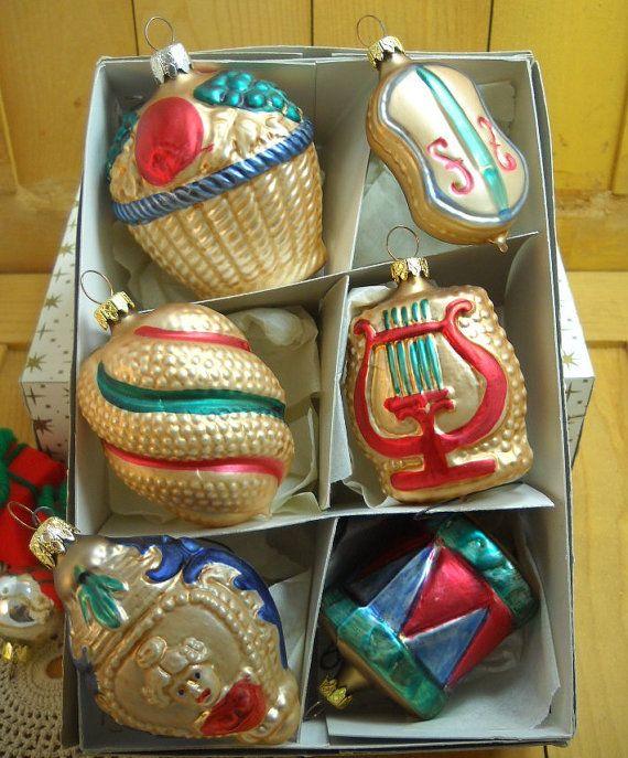 Vintage West German Christmas Ornaments Box of 6 Painted ...