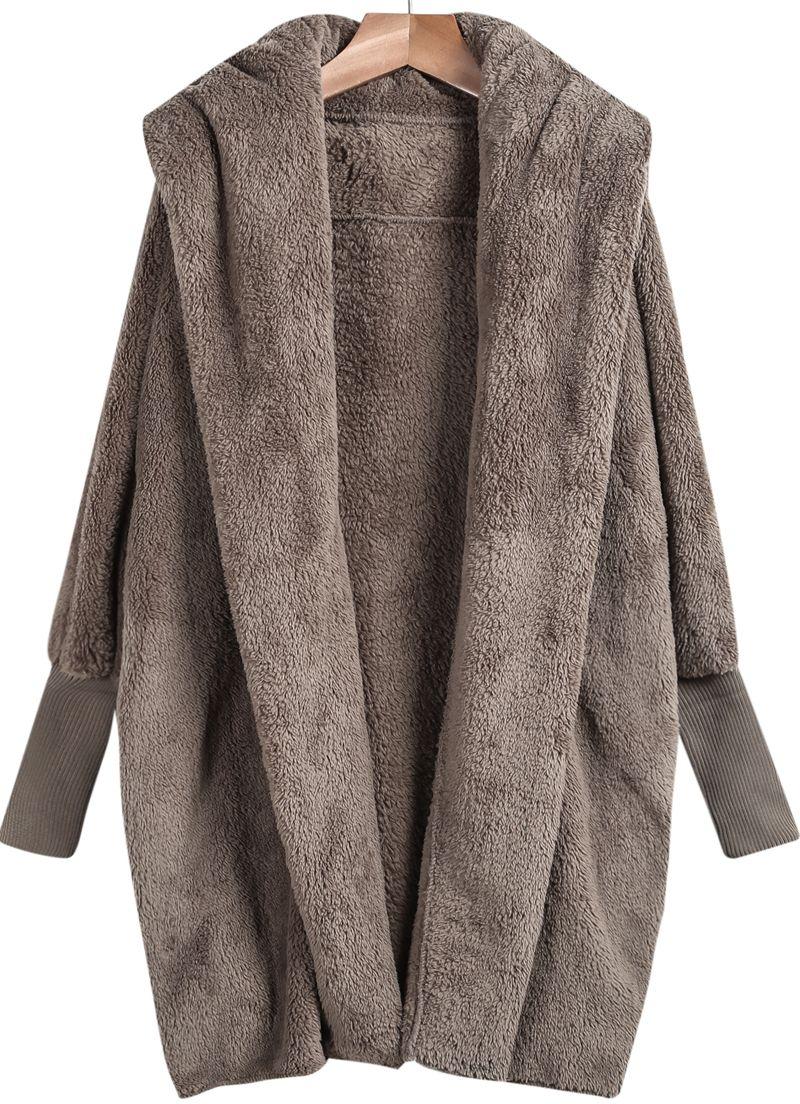 Shop Khaki Lapel Long Sleeve Loose Coat online. Sheinside offers ...